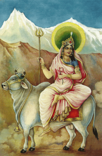 Beautiful Sketch of Mata Shailputri – Maa Durga First Avatar