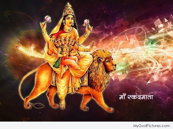 Panchami Navratri 5 Fifth Puja Day Goddess Maa Skandmata Fifth Avtar of Durga Jai Maa Di HD Wallpapers, Images, Pictures, Photos, Vectors, Graphics, Pics, Greeting Cards