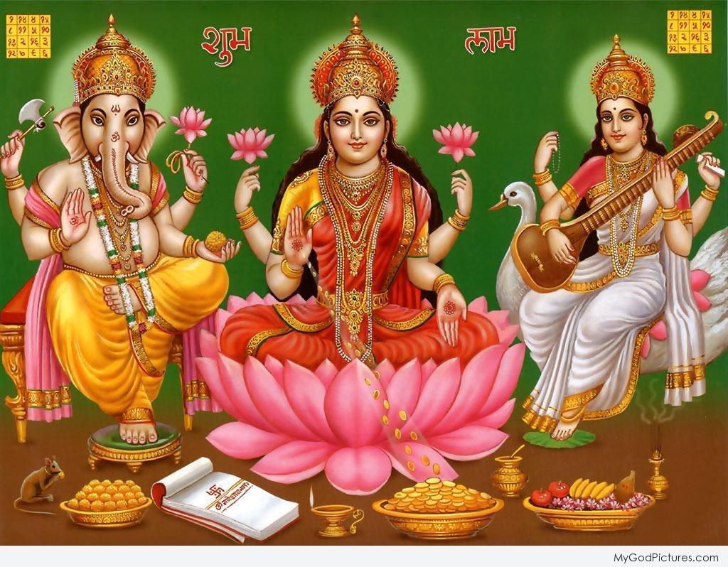 Maa Lakshmi Lord Ganesha And Saraswati Diwali Puja
