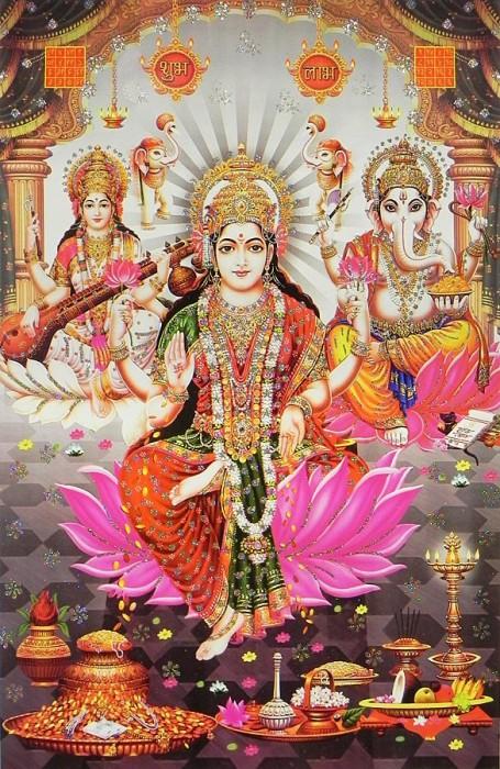 Lakshmi , Saraswati And Ganesha