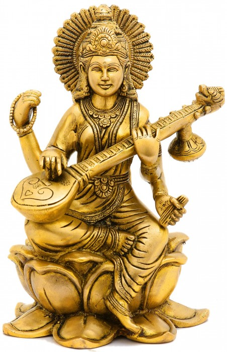 Brass Statue Of Mata Saraswati
