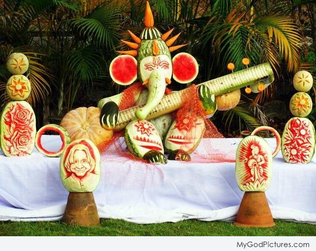 Fruit and vegetable carving lord ganesha ji god pictures