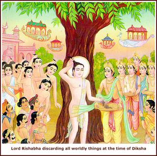 Lord Rishabh Dev Discarding All Things At The Time Of Diksha