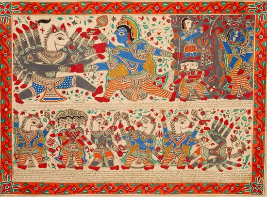 Lord Vishnu kills The Horseheaded Demon Hayagreeva