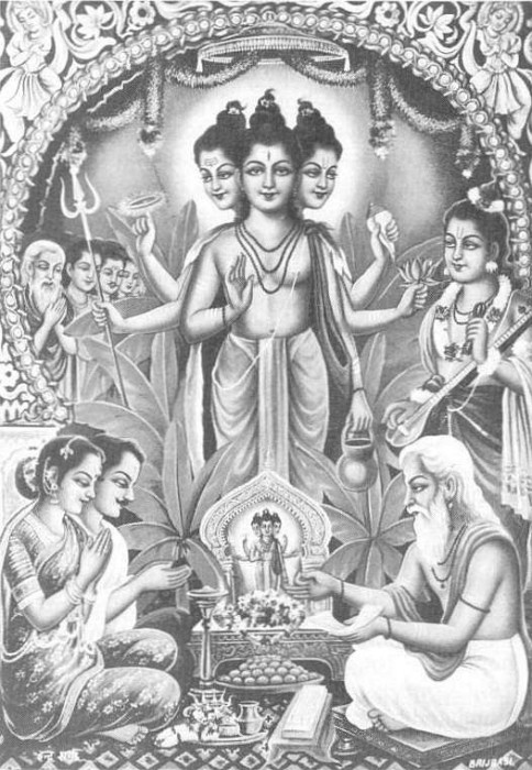 Shree Dattatreya Ji Black And White Image