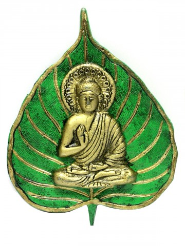Shri Buddha Ji Image On Leaf