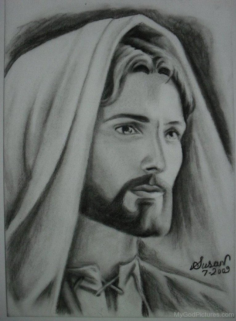 Black pencil portrait of jesus christ