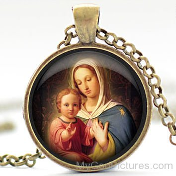 Beautiful Locket Image Of Mother Marry With Jesus