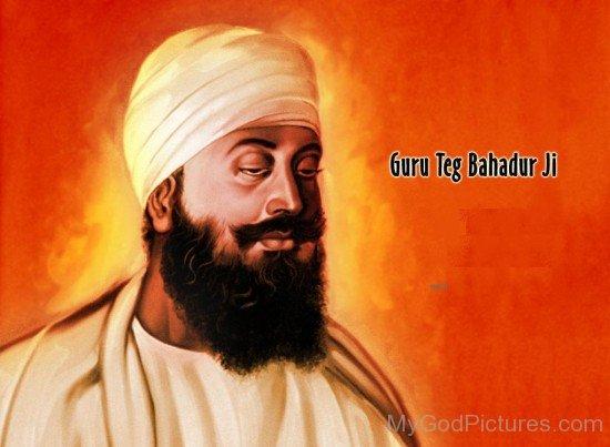 Colourfull Painting Of Guru Tegh Bahadur G