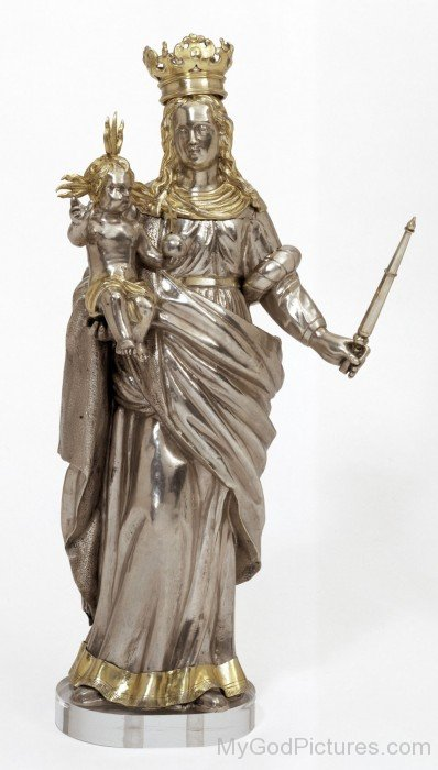Copper Statue Of Mother Marry With Jesus