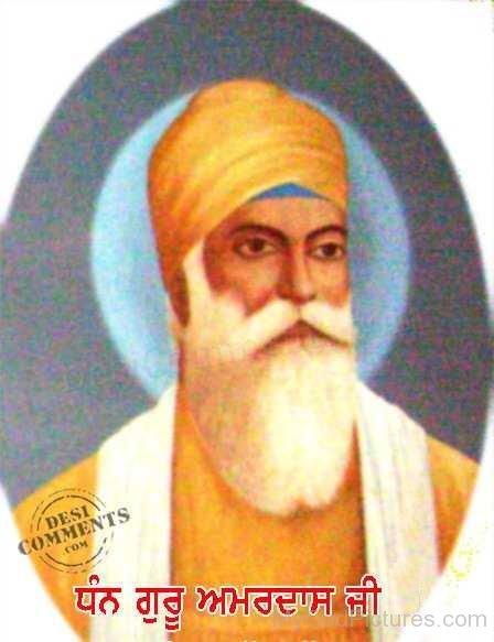Guru Amar Das Ji In Orange Turban