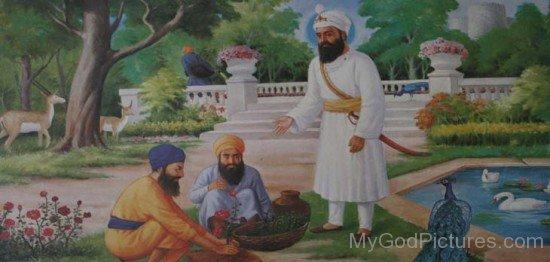 Guru Har Rai Ji Standing In Garden