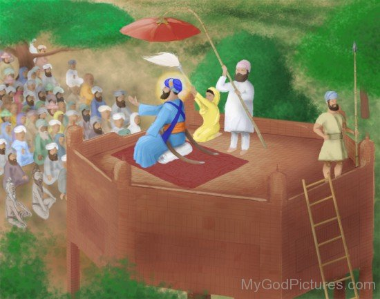 Guru HarGobind Ji Sitting On Akal Takhat