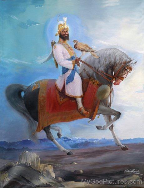 Guru Gobind Singh on Horse Image of Guru Gobind Singh ji
