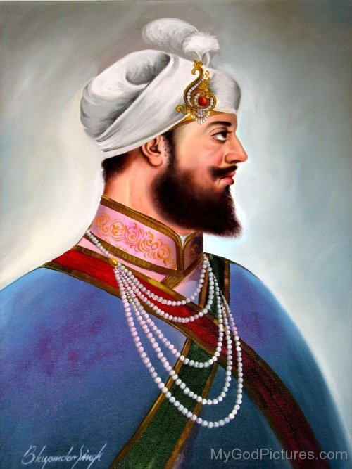 Image Of Guru HarGobind Ji In White Dastar