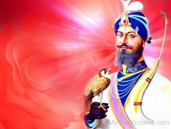 Image Of Guru Gobind Singh Ji  With Eagle