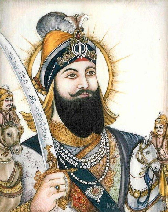 Pencil Colour Painting Of Guru Gobind Singh Ji