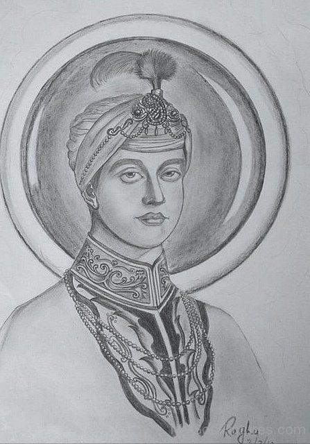 Pencil Painting Of Guru Har Krishan Ji