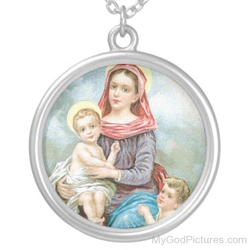Round Frame Image Of Lord Jesus With Marry