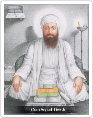 Shri Guru Angad Dev Ji In White Dress