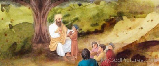 Shri Guru Angad Dev Ji With Childs