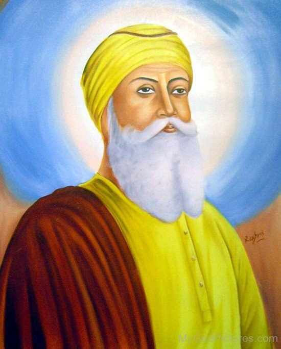 Side Pose Painting Of Guru Nanak Dev Ji