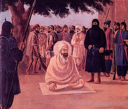 Sitting Image Of Guru Tegh Bahadur Ji