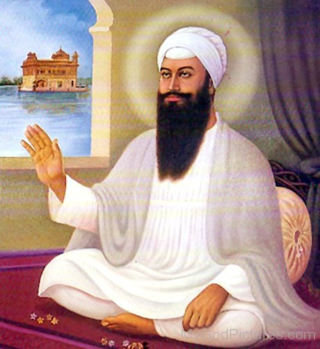 Sri Guru Arjan Dev Ji In White Dress