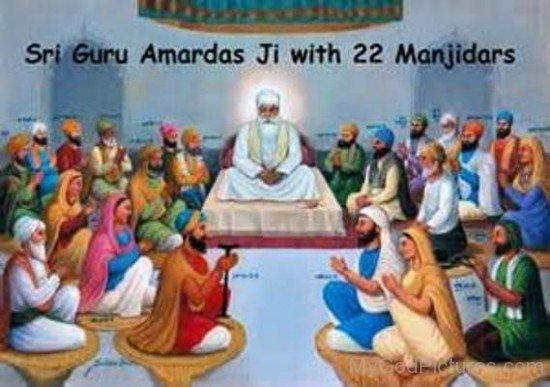 Sri guru Amar Das Ji With 22 Manjidars