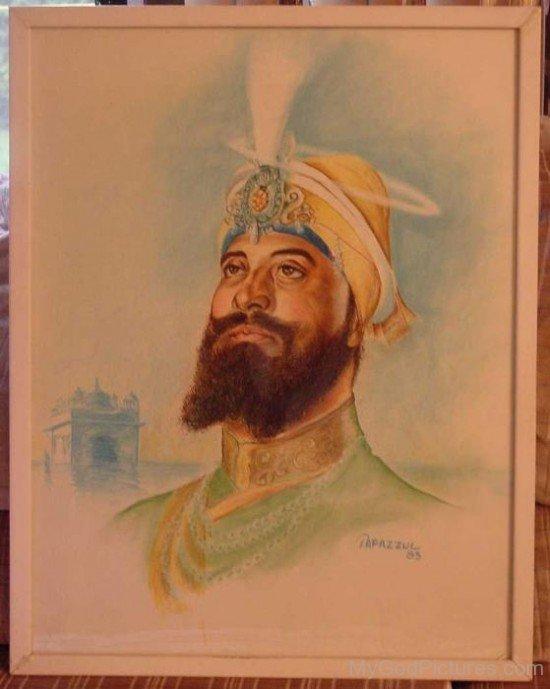 Water Colour Painting Of Guru Gobind Singh Ji