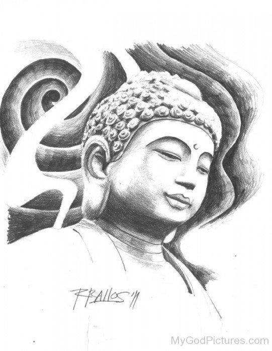 Beautiful Pencil Drawing Of Lord Buddha Ji