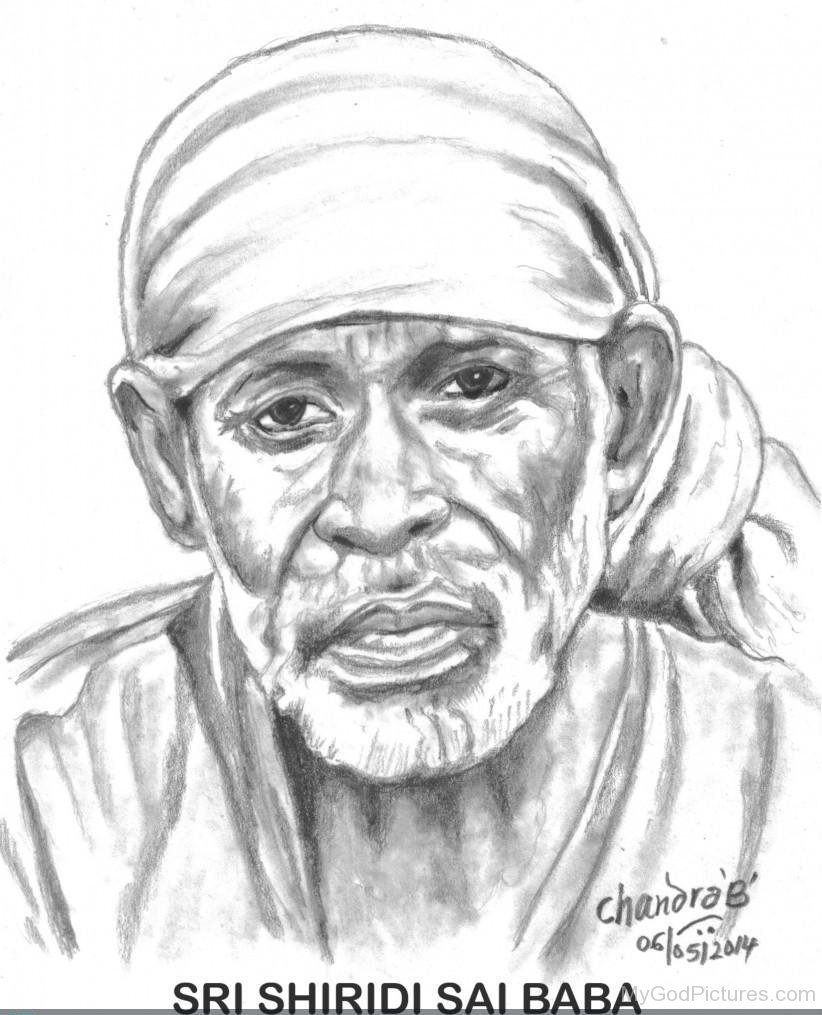Beautiful pencil sketch of sai baba ji