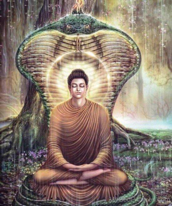 Image Of Lord Buddha Ji Sitting On Snake