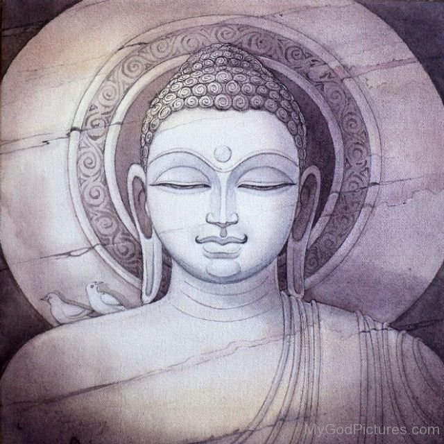 Pencil portrait of lord buddha ji