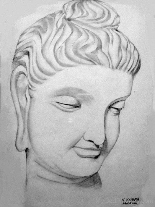 Pencil Sketch Of Lord Buddha Ji