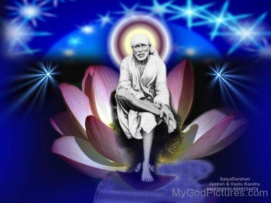 Sitting Image Of Sai Baba Ji On Flower