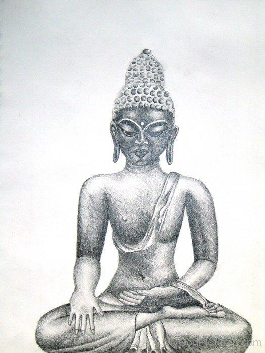 Sitting Pencil  Sketch Of Lord Buddha Ji