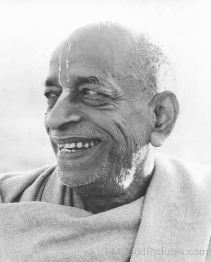 Black And White Image Of Abhay Charanaravinda Bhaktivedanta Swami Prabhupada