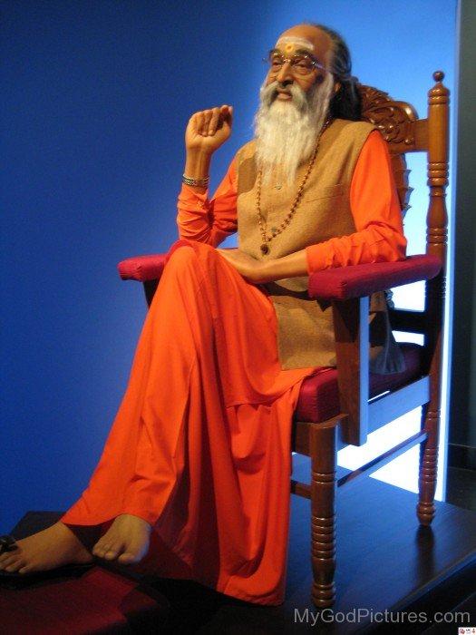 Chinmayananda Saraswati Sitting On Chair