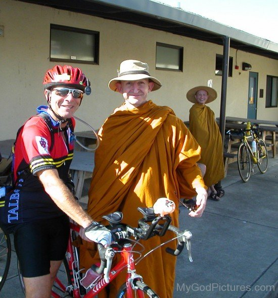 Ajahn Amaro With Cyclist ED