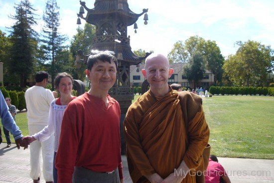 Ajahn Amaro With His Devotee
