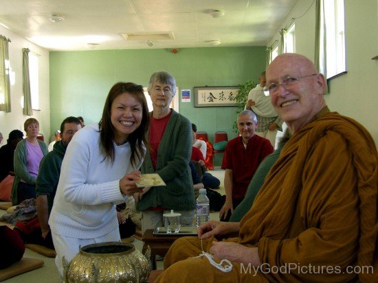 Ajahn Sumedho With Devotee