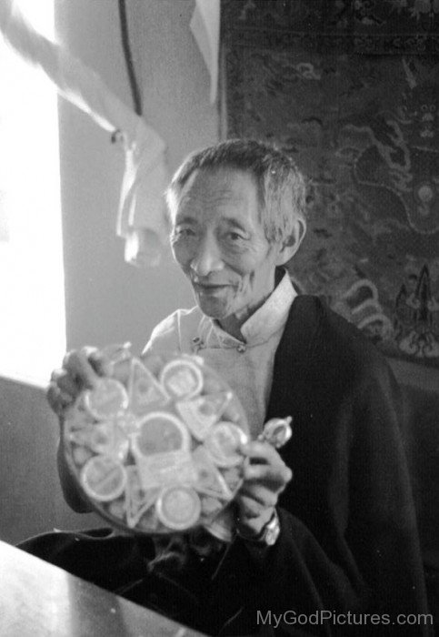 Black And White Image Of Kalu Rinpoche