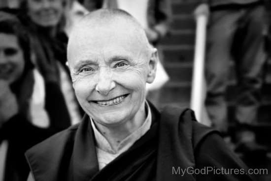Black And White Image Of Tenzin Palmo