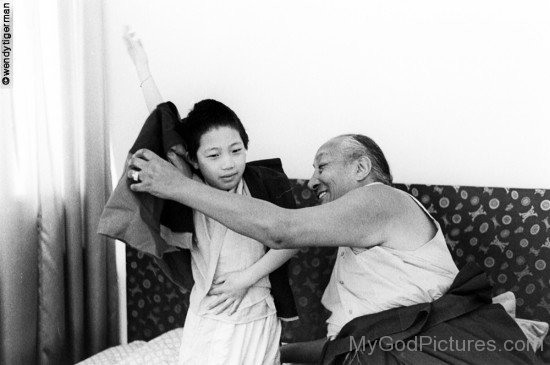 Dilgo Khyentse With Little Boy