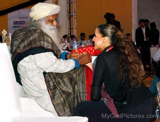 Jaggi Vasudev Ji With Neha Dhupia