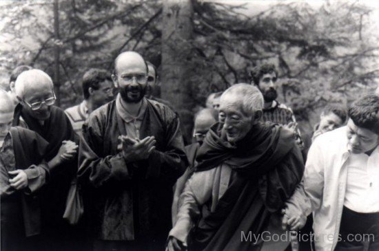 Kalu Rinpoche With Vajradhara Bokar And Lama Denys