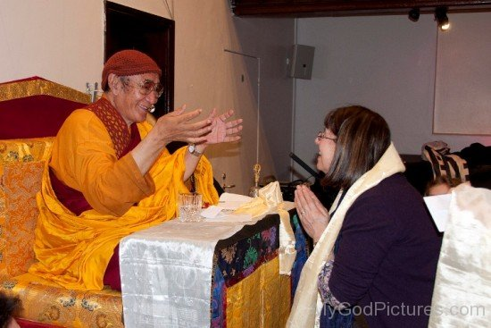 Karma Thinley Rinpoche Talking With His Devotee