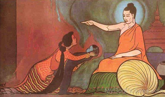 Kisa Gotami Showing Her Child To Buddha