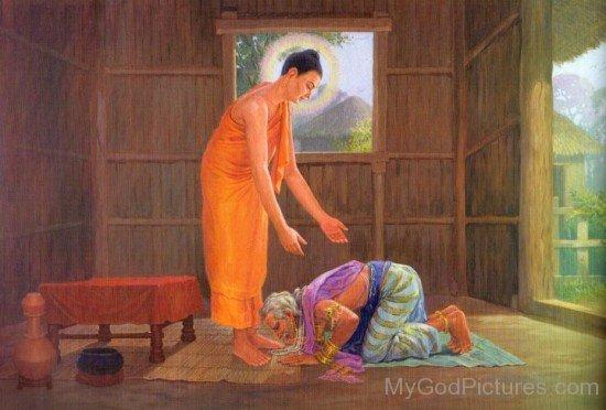 Old Bimbisara With Lord Buddha